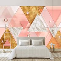 tapete für wände rosa großhandel-Individuelle Fototapete Für Wände 3D Rosa Dreieck Moderne Geometrische 3D Raum TV Hintergrund Fototapete Vlies Geprägte Tapete