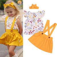 sarı tutu etek bebek kızı toptan satış-Yaz bebek kız çocuk giyim Seti kısa kollu baskılı üst + Sarı kayış etek + yaylar Kafa 3 adet setleri Çocuklar Giysi Tasarımcısı Kızlar JY362