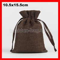 Wholesale small jute drawstring bags resale online - 100pcs size x15 cm small drawstring jute linen bag for wedding gift