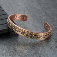 Wholesale bracelet energy cuff for sale - Vinterly Energy Magnetic Bracelet Copper Twisted Wide Bracelet for Women Adjustable Open Cuff Copper Bracelets amp Bangles Men