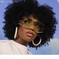 Wholesale rihanna sunglasses resale online - European and American punk style protective mirror lady rihanna big frame conjoined piece sunglasses female fashion rivet sunglasses