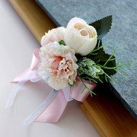 bouquet de thé achat en gros de-Européen Rétro Mariée Mariée Corsage Boutonnière Simulation Thé Rose + Carnation Soie Fleur Soeurs Poignet Fleur Broche Faveurs De Mariage