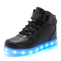 yüksek üst led ayakkabı toptan satış-Unisex LED Rahat Ayakkabılar Yüksek Üst Nefes Sneakers Light Up Ayakkabı Kadın Erkek Kız Erkek Boyutu 4-12.5