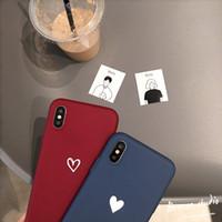 housses de gel achat en gros de-BL Pendentif iphone x Coque de protection pour téléphone portable en cuir pour iphone x Housse de protection en gel de silice à coque souple Bleu Rouge Love