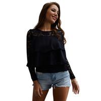 blusas do quarto preto venda por atacado-Laço cor preta ocasional patchwork mulheres tops blusa O pescoço nove mangas mangas ruffles solto blusa elegante streetwear