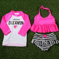 garota de praia 12 anos venda por atacado-Novas Meninas Maiô Duas Peças Ternos Bikini Set + Camisa Crianças Swimwear Maiô Beach Wear Para 1-12 Anos de Idade S75901