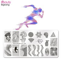Wholesale xl image plates stamping nail art resale online - Beauty Bigbang Nail Stamping Plates Lines Cat Striped Heart Star Vortex Image Stainless Steel Nails Stamping Art Template XL