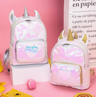 Wholesale sequin art patterns online - Unicorn Sequins Backpacks Cartoon Laser Heart Pattern Backpack Rainbow PU Leather Colorful Student School Bags Outdoor Bags CCA11092