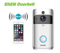 wifi objektiv großhandel-2019-EKEN Smart Home Video Türklingel 720P HD für Wifi-Verbindung Echtzeit-Videokamera Zwei-Wege-Audioobjektiv Weitwinkel-Nachtsicht PIR Motion