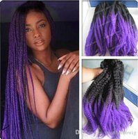 Wholesale ombre marley hair resale online - 12 Packs Full Head Two Tone Marley Braid Hair A Black Purple Ombre Synthetic Hair Extensions Kinky Twist Braiding Fast Express Shipping