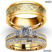 anillos barrocos al por mayor-Nuevo barroco Multi Three Stones Princess Cut Diamonds Rings Band con cristal vintage para mujeres Conjuntos de anillos de compromiso de boda