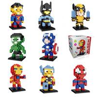 eisen mann kopf großhandel-Mini Super Hero Figuren DC Avengers 4 Marvel 3 Endspiel Ziegelköpfe Iron Man Spider Man Bausteine Spielzeug