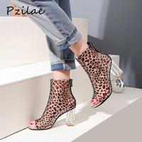 Wholesale transparent women boots online - Pzilae boots woman fashion summer transparent boots peep toe women high heels ankle for women leopard ankle shoes