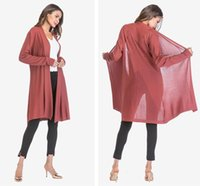 Wholesale Womens Thin Section Openwork Sweater Coat Long Sleeve Drape Cardigan Shawl Jacket Color EUR Size M XL