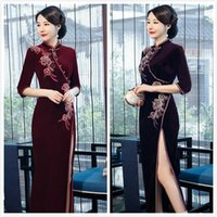 chinês longo cheongsam mais tamanho venda por atacado-2019 Nova Qipao China Qipao chinês Cheongsam longo Pleuche Bordado Qipao Chinoiserie Cheongsam Sexy Vestido chinês Big Size Plus Size