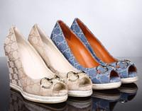 balık topuklu toptan satış-2019 En Kaliteli Mektup kabartma Balık Ay Yüksek topuklu ayakkabılar Espadrilles Tuval deri Moda Kadın Kama Elbise Ayakkabı Kutusu Ile 35-41
