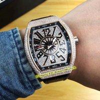 ingrosso orologi da yachting-Nuovi uomini Collezione Vanguard V 45 SC DT Yachting cassa in acciaio con diamanti quadrante automatico Mens Guarda cinturino in pelle nera orologi sportivi alti Quali