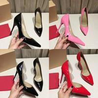 zapatos de mujer sexy stiletto al por mayor-Bombas inferiores rojas de las mujeres zapatos de tacón alto peep toe zapatos de vestir de tacón de aguja plataforma charol Partido Sexy zapatos de vestir de boda