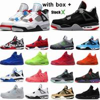zapatos de baloncesto más cool al por mayor-Air jordan 4 Bred 4s zapatos de baloncesto para hombre láser negro goma trueno derechos tatuaje caliente lava rapotors diseñador zapatillas IV dinero puro entrenadores