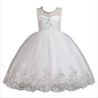 roupa da bola de cristal venda por atacado-Vestido da menina de flor de verão vestidos de baile crianças vestidos para meninas partido princesa menina roupas para o vestido de princesa de cristal