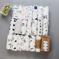 lindo blanco negro ropa de cama al por mayor-Ins Maternity Newborn Muslin Swaddles Manta 65 Estampados lindos 100% algodón Negro blanco Cubierta de cochecito Ropa de cama Toallas de baño 2 capas 120 * 120 cm