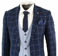 ingrosso abito da festa su misura-Mens blu navy 3 pezzi Marc Darcy Suit Check Tailored Fit completo smoking di nozze Custom Made Mens Prom Dress