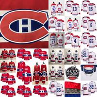 jersey rojo 13 al por mayor-Montreal Canadiens 13 camisetas de hockey Max Domi 31 Carey Price 6 Shea Weber 92 Jonathan Drouin 11 Brendan Gallagher cosido rojo y blanco hielo