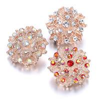 ingrosso bottoni di fiore a scatto in metallo-10Pcs 2019 New Snap gioielli misti in oro rosa fiore 18mm pulsante a scatto in metallo per le donne Fit Snap braccialetto fai da te gioielli pulsante Ginger