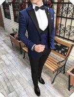 chalecos de boda para hombre negro al por mayor-Custom Made Groomsmen Black Groom Tuxedos Shawl Satin Lapel Men Trajes Wedding Best Man Blazer (Chaqueta + Pantalones + Chaleco + Corbata)