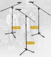 trípode boom al por mayor-Soporte de micrófono profesional Trípode Boom Mikrofon Soportes con sujetadores de clip Ajustable Plegable en negro para el desempeño en el escenario