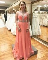 vestidos de dama de gasa abalorios al por mayor-Pink abalorios gasa Pageant vestidos de noche de encargo de las mujeres A Line vestido de novia Ocasión especial Vestido de fiesta de dama de honor 17LF400