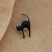 ingrosso spille in pelle-Spilla smaltata gatto nero Simpatico spilla in metallo con spilla a forma di gatto Donna Uomo Abbigliamento Jeans Distintivo in pelle Regalo per bambini