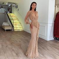 cannes schwarzes kleid groihandel-Prickelnde Sequined Champagne Mermaid Abendkleider mit Juliet Sleeve V-Ausschnitt Peplum formale Kleider Lange Abendkleid
