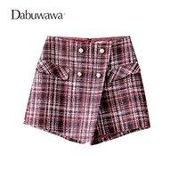 short en laine rouge achat en gros de-Dabuwawa Vin Rouge Court Femmes Plaid Vintage Jupe En Laine Short Pour Dames D'hiver Shorts À Carreaux