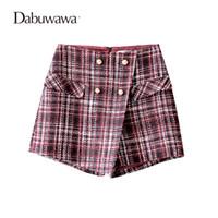 rote wollkurzschlüsse großhandel-Dabuwawa Wine Red Short Frauen Plaid Vintage Wollrock Shorts Für Winter Damen Plaid Shorts