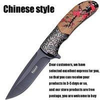 cuchillas chinas al por mayor-estilo chino cuchillo plegable táctico del cuchillo de caza al aire libre de la supervivencia del EDC acampar hecho a mano hoja de cuchillo táctico militar de autodefensa