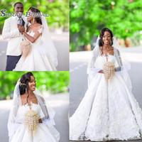 Wholesale wedding dresses elegant bride for sale - 2019 Luxury Flowers Lace Long Wedding Dresses Elegant O Neck A Line Bride Dress White Half Sleeve Wedding Party Dresses