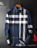amerikanisches lässiges langes kleid großhandel-2018 Kariertes Hemd der amerikanischen Geschäftsmarke mit Selbstkultivierung, gestreiftes Co-Business-Hemd 26 aus Baumwolle mit langen Ärmeln der Modedesignermarke