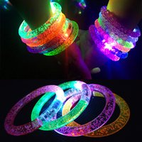 pulsera de acrilico al por mayor-Acrílico Glow Bracelet LED Crystal Gradient Color Anillo de mano Acrylic Glow Flash Light Sticks Party Dance Suministros de Navidad