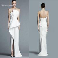 weiße formale kleider für frauen großhandel-Einzigartige trägerlosen weißen Satin Mantel Party Kleid Abendkleid mit Falten Mitte Split Frauen Abendkleider