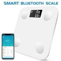 akıllı ölçekli bluetooth toptan satış-Bluetooth ölçekler kat Vücut Ağırlığı Banyo Ölçeği Akıllı Aydınlatmalı Ekran Ölçek Vücut Ağırlığı Vücut Yağ Su Kas Kütle BMI