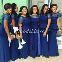Wholesale short lace peplum wedding dresses for sale - Group buy 2019 Navy Blue Mermaid Bridesmaid Dresses Jewel Peplum Lace Floor Length Plus Size Garden Country Wedding Guest Gowns Maid Of Honor Dress