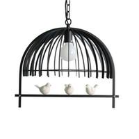 ingrosso vendita di uccelli metallici-Nordic Bird Cage Pendant Light White Black Metal Lampada a sospensione bar soggiorno camera da letto studio cafe Store Illuminazione domestica F107
