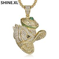 micro embutimento jóias de prata venda por atacado-Zircão Micro-embutido Dos Desenhos Animados Anime Duck Pingente de Prata Banhado A Ouro Homens Hip Hop Charme Jóias Presente Atacado