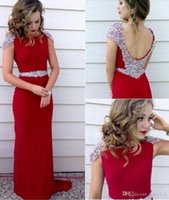 Wholesale red carpet dresses for girls resale online - 2019 New Fitted Red Evening Dresses Scoop Neck Capped Sleeves Backless Mermaid Satin Special Occasion Party Gowns For Girls vestidos de