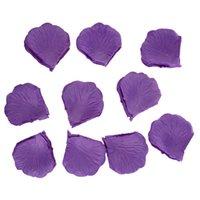 konfeti yaprakları toptan satış-TOP - Düğün Dekorasyon Confetti için 1000pcs Mor İpek Gül Yapraklı Malva