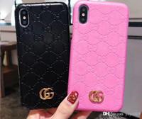 étui portefeuille transparent iphone 5s achat en gros de-Mode Embossed Flower Marque Imprimé Couverture de téléphone pour iPhone X 6s 7 8 Plus XS XR XS max Xsmax 6.5 1105
