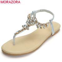 ee4d1afba9089 MORAZORA 2019 newest style summer shoes women beach shoes crystal slip on flat  lady sweet Bohemian style women sandals