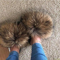 Wholesale big shoe slippers for sale - Group buy Real Raccoon Fur Slippers Women Sliders Casual Hair Flat Fluffy Fashion Home Summer Big Size Furry Flip Flops Shoes