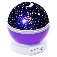 Wholesale projector moon resale online - Romantic Led Night Lamp Rotating Starry Star Moon Sky Rotation Night Lighting Projector Lamp Kids Children Baby Sleeping Lights